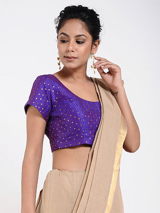 Blue Cotton Silk Blouse with Sequins-work