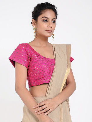 Pink Cotton Silk Blouse with Sequins-work