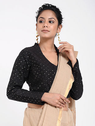 Black Cotton Silk Blouse with Sequins-work