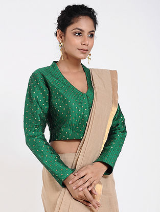 Green Cotton Silk Blouse with Sequins-work