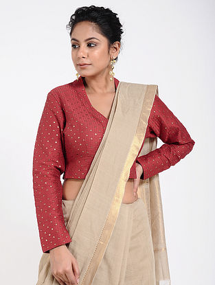 Red Cotton Silk Blouse with Sequins-work