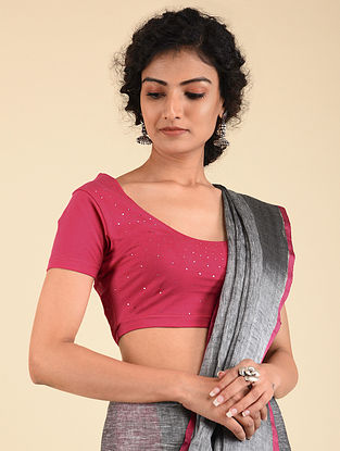 Pink Cotton Lycra Blouse with Badla Work