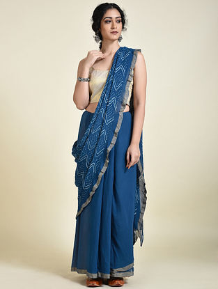 Blue-Ivory Georgette Silk Saree with Zari Border