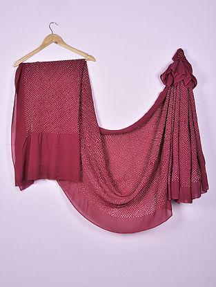 Red-Ivory Bandhani Georgette Silk Saree