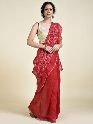 Red-Ivory Bandhani Cotton Silk Saree