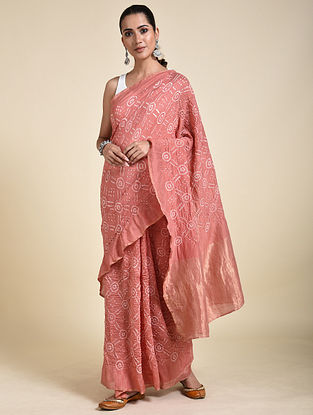 Peach-Ivory Bandhani Cotton Silk Saree
