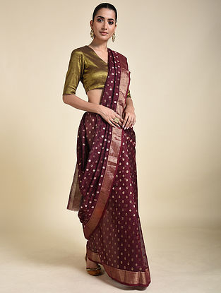 Maroon Cotton Silk Saree with Zari