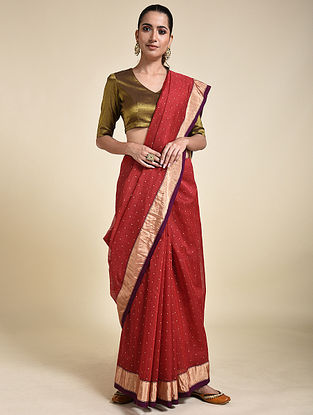 Red Cotton Silk Saree with Zari