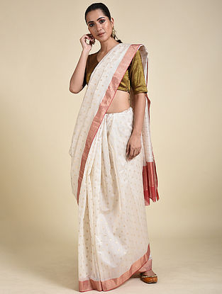 Ivory Cotton Silk Saree with Zari