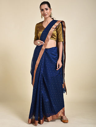 Blue Cotton Silk Saree with Zari