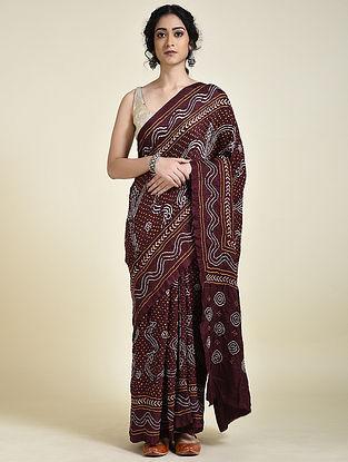 Maroon-Ivory Bandhani Silk Saree
