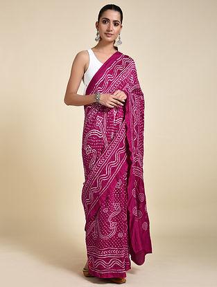 Pink-Ivory Bandhani Silk Saree