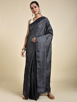 Black-Ivory Bandhani Tussar Silk Saree