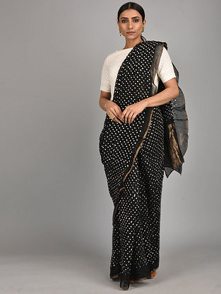 Black Bandhani Cotton Silk Saree