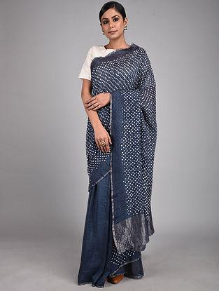 Navy Blue-Ivory Bandhani Cotton Silk Saree