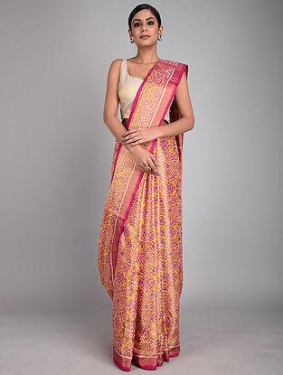 Pink-Yellow Handwoven Ikat Silk Saree