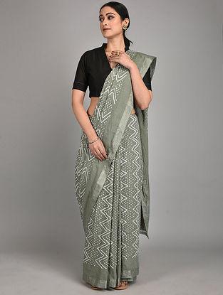 Grey Bandhani Mangalgiri Cotton Saree
