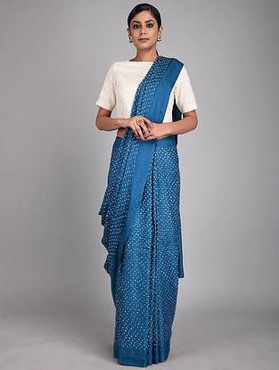 Blue-Ivory Bandhani Silk Saree