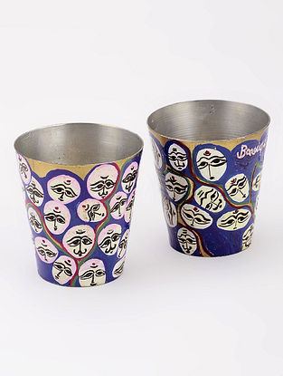 Brass Shot Glasses with Faces Artwork by Baarique 2in x 2in