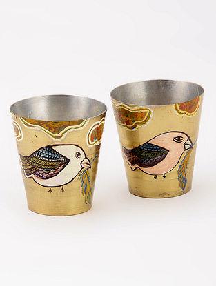 Brass Shot Glasses with Orange Sky Artwork by Baarique 2in x 2in