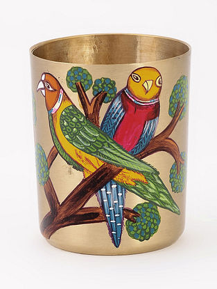 Kansa Glass with Parrot Artwork by Baarique 2.5in x 3in