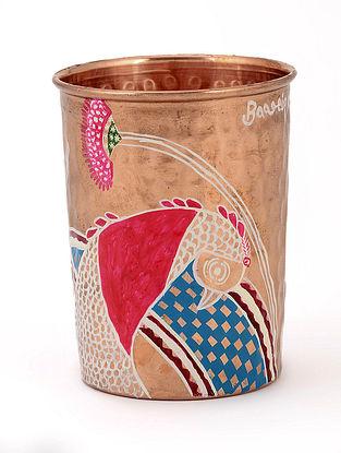Beaten Copper Glass with Fish artwork   by Baarique 2.7in x 3.5in