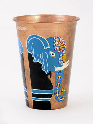 Copper Glass with Elephant Artwork by Baarique 3.5in x 4.5in