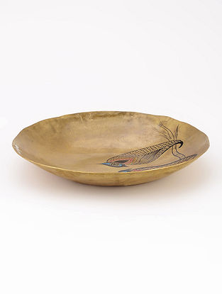 Brass Plate with Love Birds Artwork by Baarique 8.5in x 1.2in