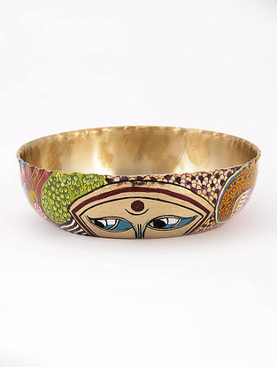 Wrinkled Kansa Bowl with Face Artwork by Baarique 5.2in x 1.2in