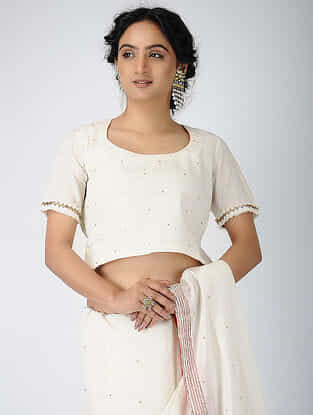 Ivory Cotton Blouse with Sequin and Nakshi Work