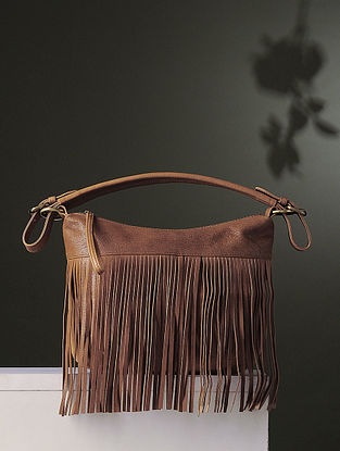 Tan Handcrafted Leather Hand Bag With Fringes