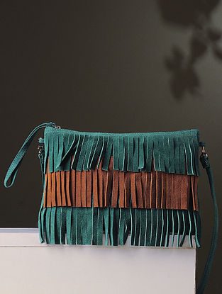 Green-Tan Handcrafted Leather Sling Bag With Fringes