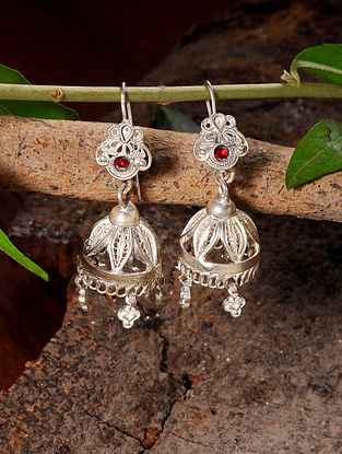 Red Vintage Silver Jhumki Earrings