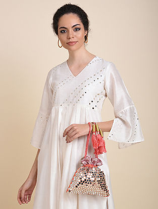 Coral Handcrafted Raw Silk Potli with Sequin Embellishments