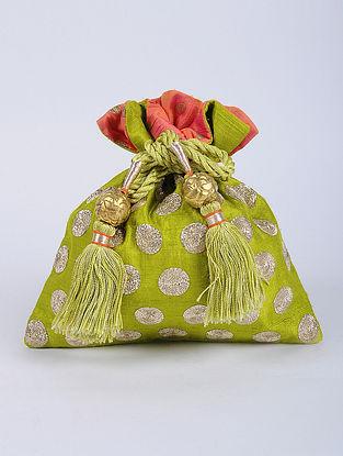 Green Gold Handcrafted Raw Silk Potli