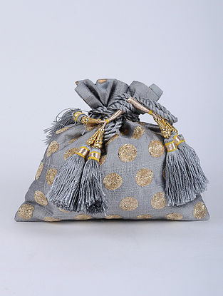 Grey Gold Handcrafted Raw Silk Potli