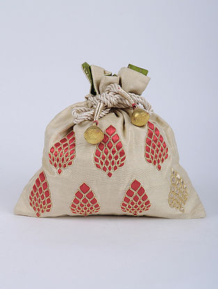 Beige Red Handcrafted Raw Silk Potli