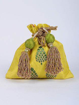 Yellow Green Handcrafted Raw Silk Potli