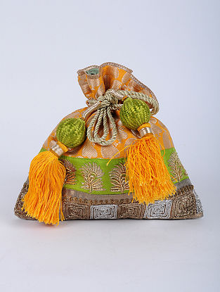 Multicolored Handcrafted Brocade Silk Potli