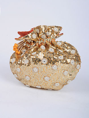 Orange Gold Handcrafted Silk Potli with Sequin Embellishments