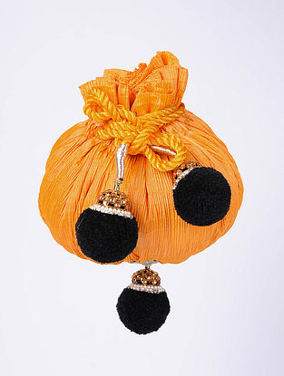 Orange Handcrafted Raw Silk Potli
