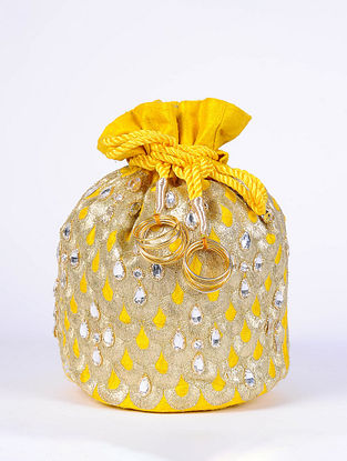 Yellow Handcrafted Raw Silk Potli