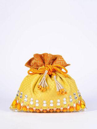 Yellow Orange Handcrafted Brocade Silk Potli