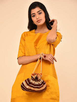 Brown Orange Handcrafted Silk Velvet Potli