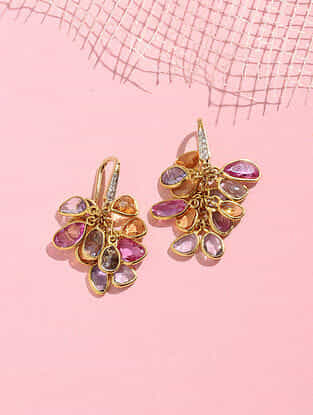 Gold and Diamond Earrings with Multi Sapphire