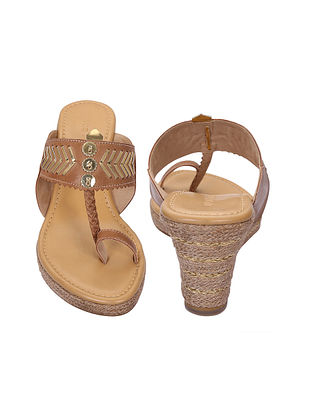 Brown-Gold Handcrafted Kolhapuri Wedges
