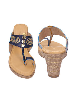 Blue-Gold Handcrafted Kolhapuri Wedges