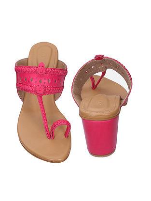 Pink Handcrafted Kolhapuri Block Heels