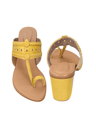 Yellow Handcrafted Kolhapuri Block Heels
