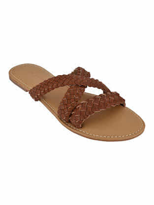 Tan Handcrafted Braided Flats